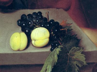 The Sick Bacchus, Detail of Peaches and Grapes, 1591-Caravaggio-Giclee Print