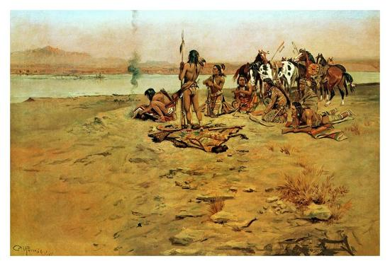 The Signal Fire-Charles Marion Russell-Art Print