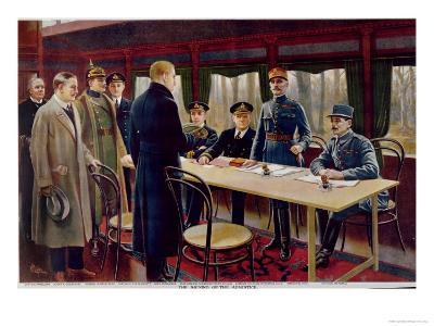 The Signing of the Armistice on 11th November 1918 at 5 A.M., 1918--Giclee Print