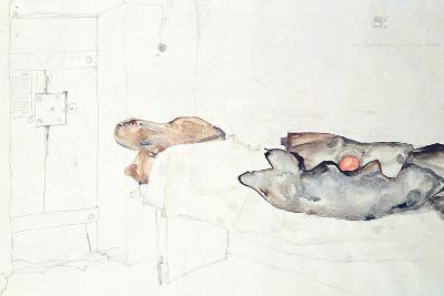 The Single Orange Was the Only Light-Egon Schiele-Giclee Print