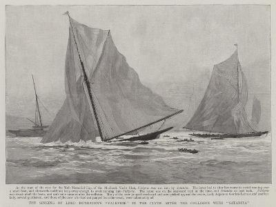 The Sinking of Lord Dunraven's Valkyrie in the Clyde after the Collision with Satanita--Giclee Print