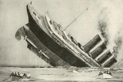 The Sinking of the Lusitania, 7 May 1915--Giclee Print