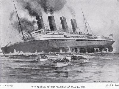 The Sinking of the Lusitania, May 7, 1915-Charles John De Lacy-Giclee Print