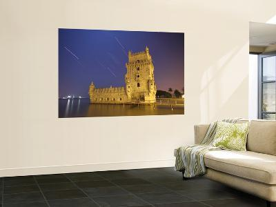 The Sirius Star and Constellation Orion Setting Behind the Bélem Tower in Lisbon, Portugal-Stocktrek Images-Giant Art Print