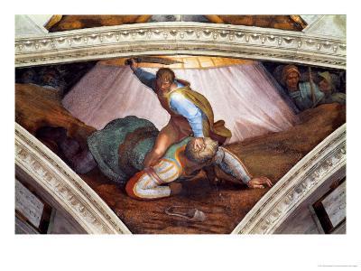 The Sistine Chapel; Ceiling Frescos after Restoration: David and Goliath-Michelangelo Buonarroti-Giclee Print