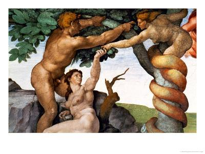 The Sistine Chapel; Ceiling Frescos after Restoration, Original Sin-Michelangelo Buonarroti-Giclee Print