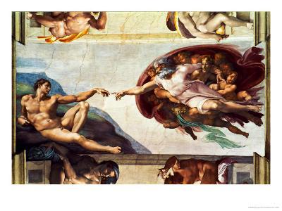 The Sistine Chapel; Ceiling Frescos after Restoration, the Creation of Adam-Michelangelo Buonarroti-Giclee Print
