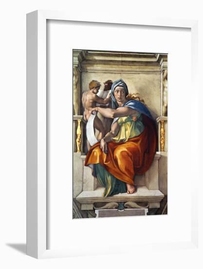 The Sistine Chapel; Ceiling Frescos after Restoration, the Delphic Sibyl-Michelangelo Buonarroti-Framed Giclee Print