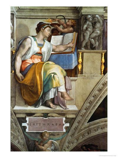 The Sistine Chapel; Ceiling Frescos after Restoration, the Erithrean Sibyl-Michelangelo Buonarroti-Giclee Print
