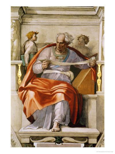 The Sistine Chapel; Ceiling Frescos after Restoration, the Prophet Joel-Michelangelo Buonarroti-Giclee Print