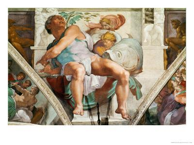 The Sistine Chapel; Ceiling Frescos after Restoration, the Prophet Jonah-Michelangelo Buonarroti-Giclee Print