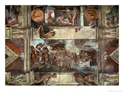 The Sistine Chapel: Noah's Drunkenness; the Flood-Michelangelo Buonarroti-Giclee Print