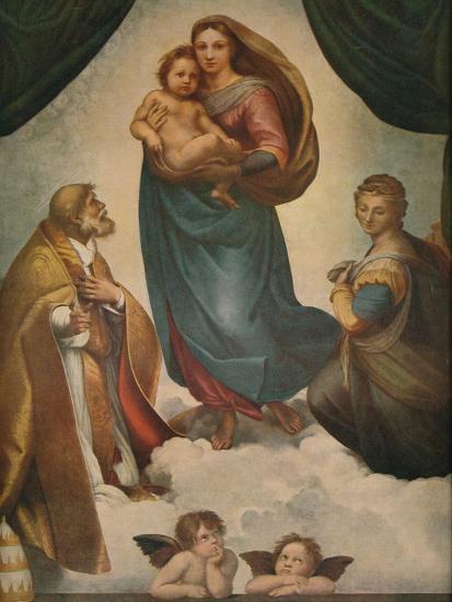 'The Sistine Madonna', 1512, (1911)-Raphael-Giclee Print