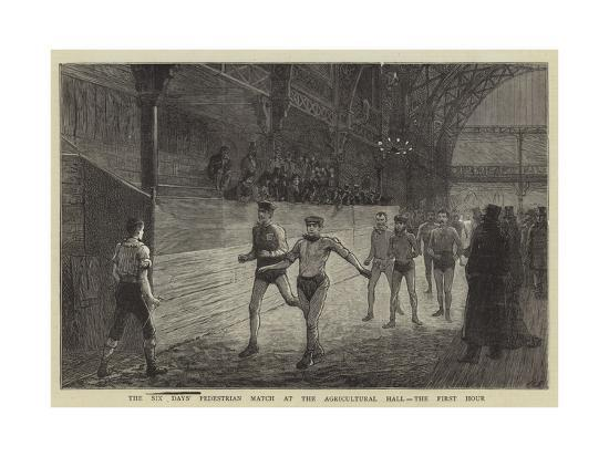 The Six Day's Pedestrian Match at the Agricultural Hall, the First Hour--Giclee Print