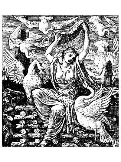 The Six Swans-Walter Crane-Premium Giclee Print