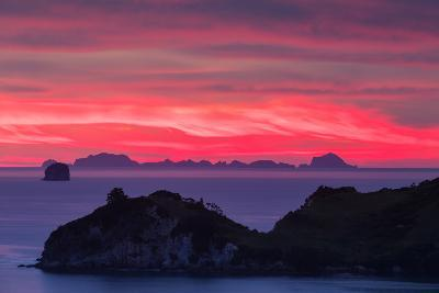 The Sky Appears on Fire as Dawn Light Seeps Through Clouds Beyond Alderman Island-Garry Ridsdale-Photographic Print