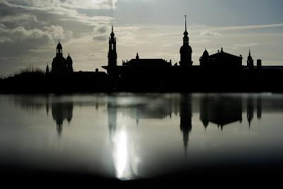 The Skyline Is Reflected on a Rainy Day in Dresden, Germany-Arno Burgi-Photographic Print