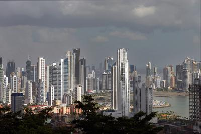 The Skyline of Panama City, Capital of Panama Glistens in the Sun Above the Pacific Ocean-Steve Raymer-Photographic Print