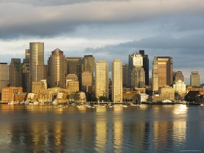 The Skyline of the Financial District Across Boston Harbor at Dawn, Boston, Massachusetts, USA-Amanda Hall-Photographic Print