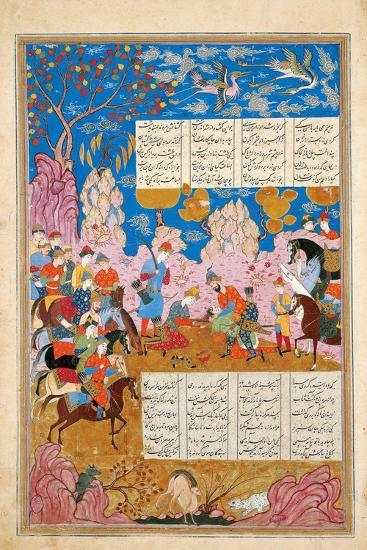 The Slaying of Siyawush (Manuscript Illumination from the Epic Shahname by Ferdows)--Giclee Print