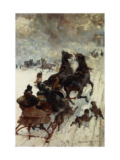 The Sled Race-Edmond Morin-Giclee Print