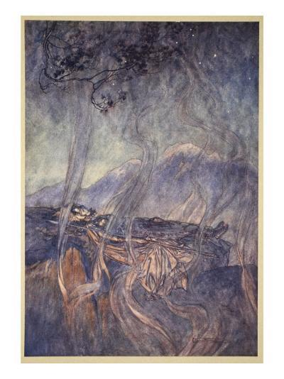 The sleep of Brunnhilde, illustration from 'The Rhinegold and the Valkyrie', 1910-Arthur Rackham-Giclee Print