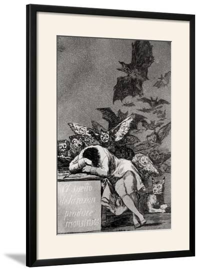 "The Sleep of Reason Produces Monsters, from ""Los Caprichos""-Francisco de Goya-Framed Giclee Print"