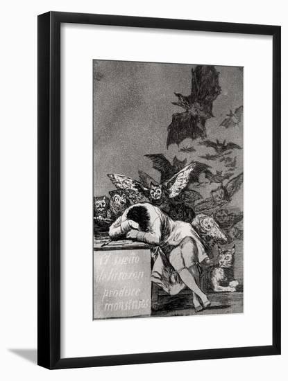 """The Sleep of Reason Produces Monsters, from """"Los Caprichos""""-Francisco de Goya-Framed Giclee Print"""