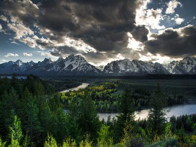 The Snake River with the Sun Setting over the Grand Tetons in the Background-Brad Beck-Photographic Print
