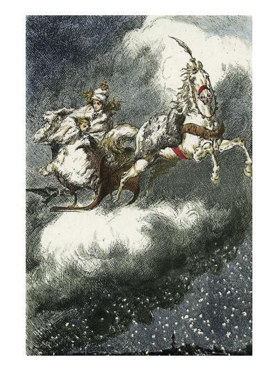 The Snow Queen: 'Are you cold? Come underneath my fur coat!', Woodcut illustration, 1881-Erdman Wagner-Giclee Print