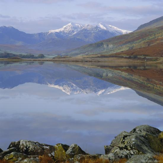 The Snowdon Range from Capel Curig Across Llynnau Mymbr, Snowdonia National Park, North Wales, UK-Roy Rainford-Photographic Print