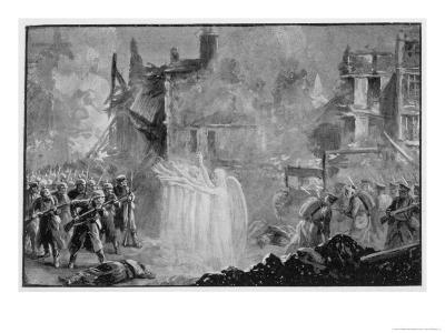"""The So-Called """"Angels of Mons"""" Halt the German Advance at Mons Belgium-Alfred Pearse-Giclee Print"""