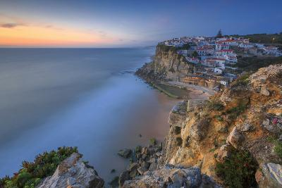The Soft Colors of Twilight Frame the Ocean and the Village of Azenhas Do Mar, Sintra, Portugal-Roberto Moiola-Photographic Print