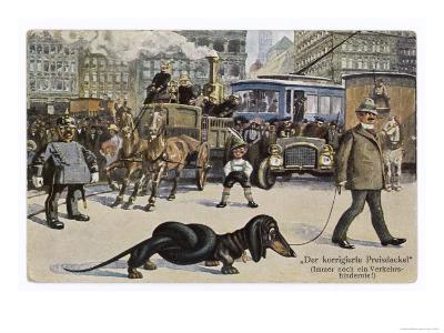 The Solution to the Problem for Traffic When a Very Long Dachshund Crosses the Road with is Owner--Giclee Print
