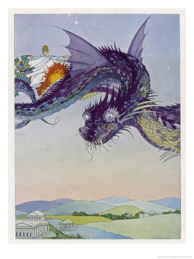 The Sorceress Medea Flies Through the Greek Airspace in Her Serpent-Powered Chariot-Virginia Frances Sterrett-Giclee Print