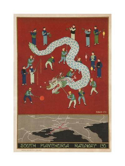 The South Manchuria Railway Travel Poster Dragon Float--Giclee Print
