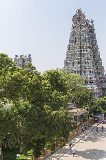 The South Tower of the Meenakshi Amman Temple Rises High Above the Street-Kelley Miller-Photographic Print