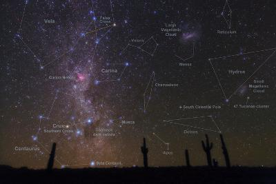 The Southern Sky with a Overlay Indicating Locations of Various Heavenly Bodies-Babak Tafreshi-Photographic Print
