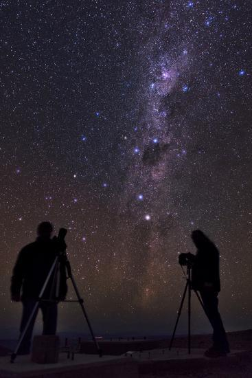 The Southern Stars over Two Photographers on the Top of 3060-Meter Peak Cerro Armazones-Babak Tafreshi-Photographic Print