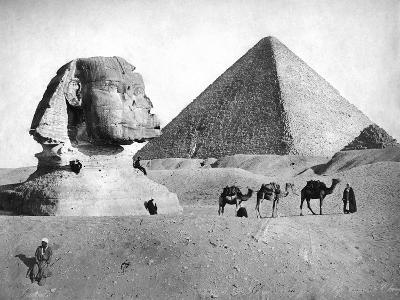 The Sphinx and Pyramid at Giza, Egypt, C1882--Giclee Print