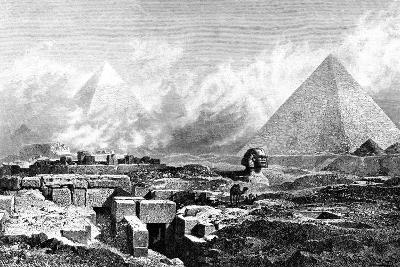 The Sphinx and Pyramids, Egypt, 1880-BH Fiedlen-Giclee Print