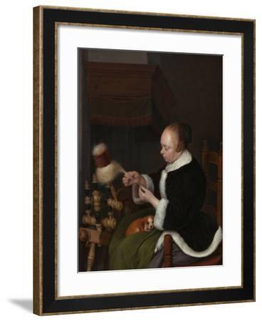 The Spinner, 1652-Gerard Ter Borch the Younger-Framed Giclee Print