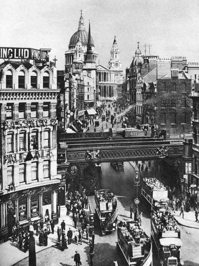 The Spire of St Martin, Ludgate Silhouetted Against the Bulk of St Paul's, London, 1926-1927- Frith-Giclee Print