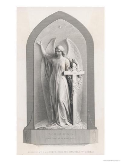 The Spirit of Faith, an Angel Stands by a Cross and Indicates the General Direction of Heaven-R.a. Artlett-Giclee Print
