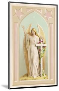 """""""The Spirit of Faith"""", an Angel Stands by a Cross and Indicates the General Direction of Heaven"""