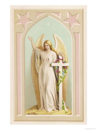 """""""The Spirit of Faith"""", an Angel Stands by a Cross and Indicates the General Direction of Heaven--Giclee Print"""