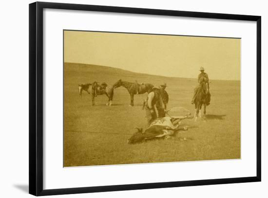 """The Spring Round-Up"" Roping A Texas Steer-LA Huffman-Framed Art Print"