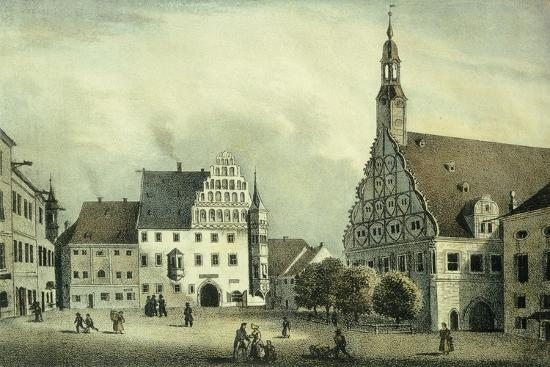 The Square Market in Zwickau with Robert Schumann's Birth Place, Germany 19th Century Print--Giclee Print