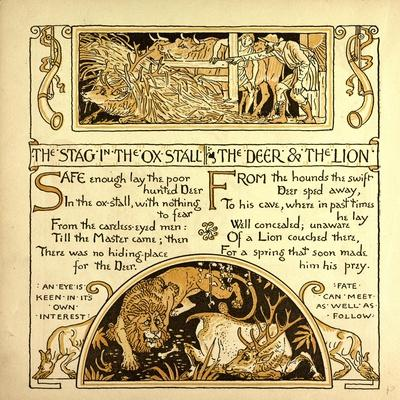 The Stag in the Ox Stall the Deer and the Lion--Giclee Print