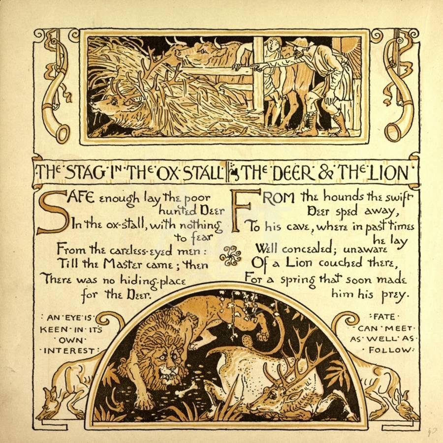 The Stag in the Ox Stall the Deer and the Lion Giclee Print by | Art.com
